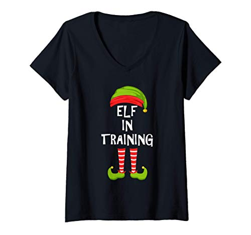 Mujer El duende en entrenamiento emparejando el pijama de la fiest Camiseta Cuello V