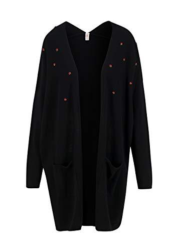 Blutsgeschwister Damen Strickjacke - Longcardigan aus Baumwolle, Farbe:Black, Größe:M