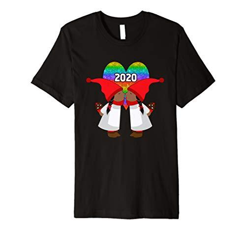 Black Lesbian Gnome Valentines Day Couples 2020 LGBT Rainbow Premium T-Shirt