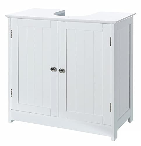 Mueble Bajo Lavabo Mueble Baño Armario de Madera Blanco de 60x30x60cm