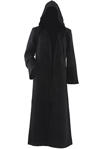 Hommes Hooded Robe Cape Chevalier Fantaisie cosplay costume adulte EU Taille,L,Noir