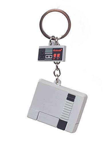 Nintendo Unisex-Erwachsene NES 3D Console & Controller Keychain Schlüsselanhänger, Grau (Grey), 5x16x6 Centimeters