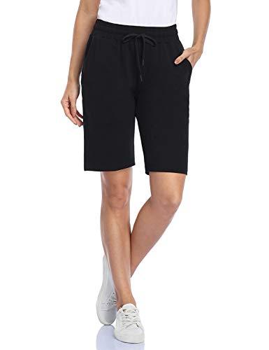 MOVE BEYOND Bermudas de Mujer con 3 Bolsillos con Cordón Ajustable Pantalones Cortos para Yoga Correr Ejercicio Salón, Negro, S