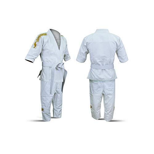 Dorawon, Kimono judogi de algodón HIRAKATA Talla 140 cm, Blanco