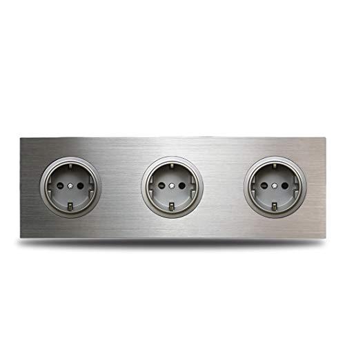 Enchufe eléctrico de pared de la UE con marco triple de 3 bandas, salida de enchufe alemán, panel de aluminio cepillado plateado, placa doble 172 * 86 Mm Grey Module