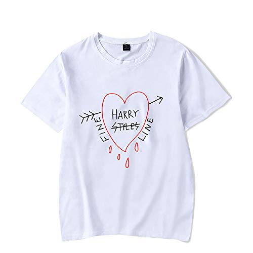 Hip Hop Harry Styles T-Shirt Fine Line Love on Tour-Frauen-Sommer-Harajuku Top Tees Female T-Shirt Grafik-T-Shirt,Weiß,M