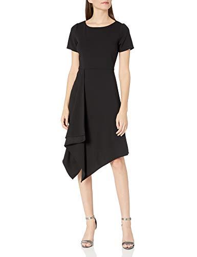 Sharagano Women's Drape Dress, Black, 6