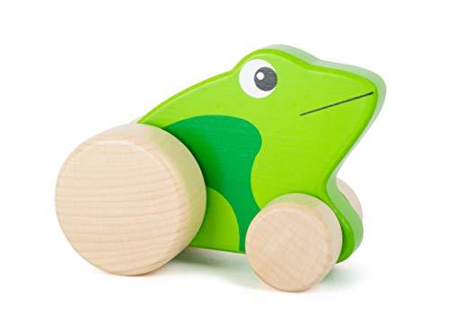 Small Foot- Grenouille à Pousser pour Enfants de la Marque, certifiée 100% FSC, en Bois Robuste, favorise l'imagination Jouets, 11049, Vert