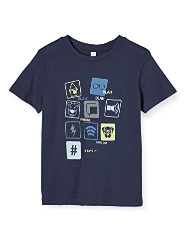 ESPRIT KIDS Jungen RQ1014401 SS ICON T-Shirt, Blau (Night Blue 449), (Herstellergröße: 128+)