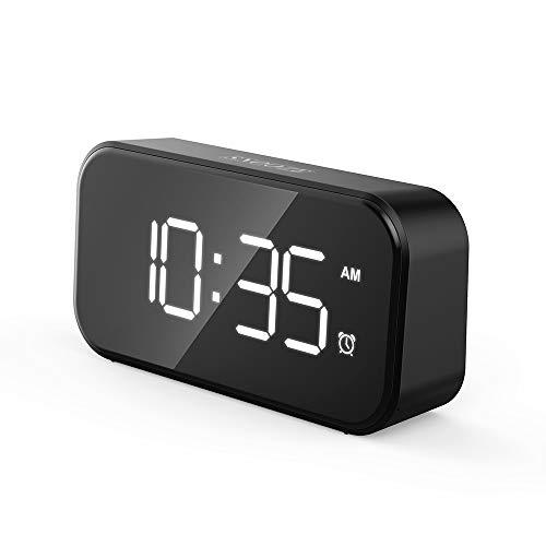 WuYan Sveglia Digitale Sveglia da Comodino con LED Grande Schermo Sei Livelli di luminosità Regolabili Snooze USB Ricaricare Facile da Usare, Nero