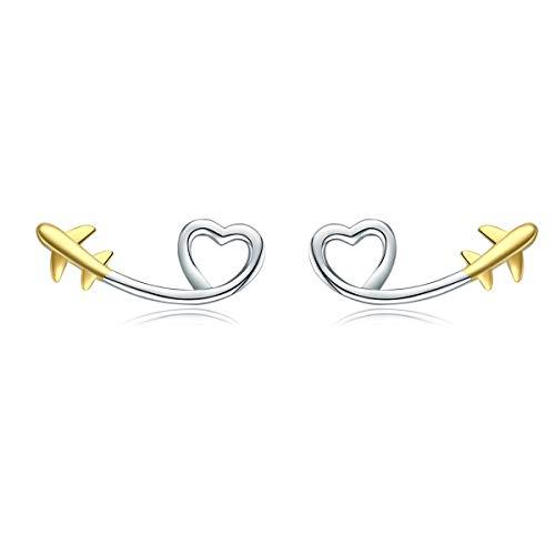 NEWL - Orecchini a perno in argento Sterling 925 a forma di cuore, a forma di cuore, orecchini coreani