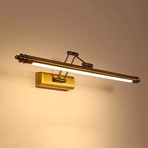 CCLLA Espejo de baño Luz Frontal de latón, LED Ajustable sobre iluminación de Espejo Vintage con Base de Acero Inoxidable, 3000K Luces de gabinete de Espejo Retro Impermeables de Color Blanco cáli
