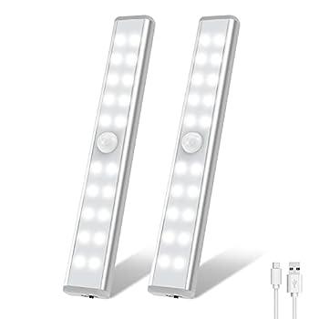 20 LED Closet Light OxyLED USB Rechargeable Motion Sensor Closet Lights Wireless Under Cabinet Lights Stick-on Stairs Step Light Bar LED Night Light Safe Light for Wardrobe Kitchen Stair 2 Pack