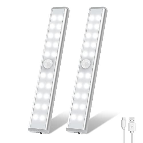 20 LED Closet Light, OxyLED USB Rechargeable Motion Sensor Closet Lights, Wireless Under Cabinet Lights, Stick-on Stairs Step Light Bar, LED Night Light, Safe Light for Wardrobe, Kitchen Stair(2 Pack)