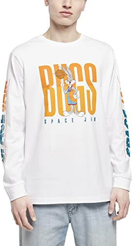 Mister Tee Space Jam Big Bugs Playing Longsleeve Camiseta, Blanco, XS para Hombre
