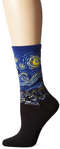 Hot Sox Van Gogh's Starry Night Royal Blue Crew Socken
