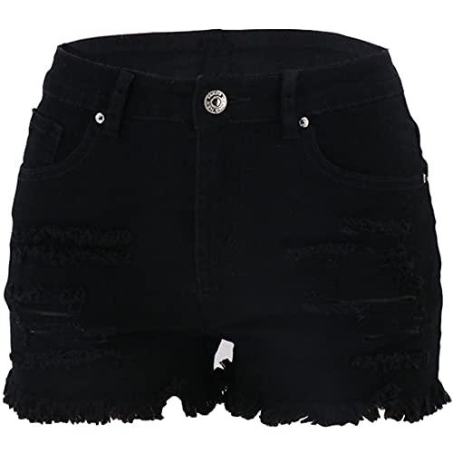Pantalones cortos de mezclilla de color sólido de las mujeres de moda lavado rasgado agujero moda cintura alta, Negro, M