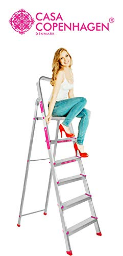 Casa Copenhagen 6 Step Foldable Aluminium Ladder with Scratch Resistant Smart Platform, Sure-Hinge Technology, Rust Proof and Certified by European Standard EN 131