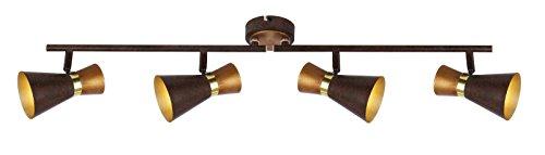 Deckenstrahler 4 Flammig Deckenlampe Flurlampe Deckenleuchte Deckenspot (Beweglich, Wohnzimmerlampe, Schlafzimmerlampe, Holz, Gold-Farben)