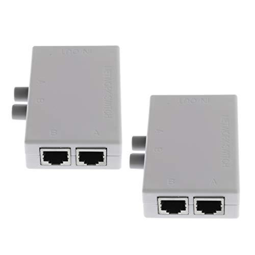balikha 2Pcs RJ45 2Port Internet Network Sharing Switch Splitter Selector Hub