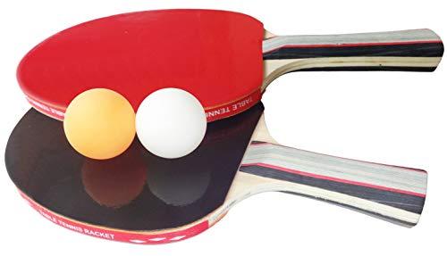 O&W Security zestaw 2 rakietek do tenisa stołowego + 2 piłeczki do tenisa stołowego Ping Pong Set z torbą wysokiej jakości Pro Edition czarno-czerwony
