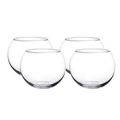 WHOLE HOUSEWARES Clear Bubble Bowl Glass Vase-Glass Round Vase-Glass Fish Bowl-Glass Terrarium (D6 X H4.75 Inch 4pcs)