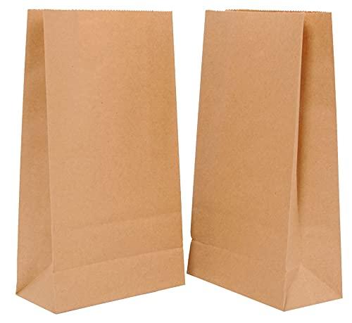 FAYUNET Bolsas de Papel Kraft, Bolsa Papel Ecológica Guardar Alimentos Comida Bocadillos,Bolsas Papel Kraft para Regalos Navidad Cumpleaños (14 x 26 x 8cm(100pcs))
