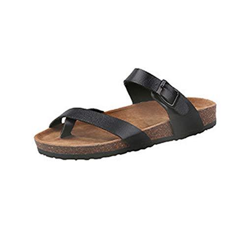 Fanville Sandalias de verano planas con correa en T para mujer, estilo bohemio, casual, zapatos de playa, sandalias de dedo del pie, suela suave, zapatos casuales, PVC y goma., negro, 36