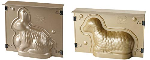Dr. Oetker Osterbackformen-Set Goldiges Ostern, hochwertige Hasenform, Lammform aus Stahlblech, Backformen mit Antihaftbeschichtung, Formen für die Osterfeier (Farbe: Gold), Menge: 1 x 2er Set