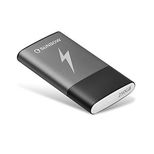 TCSUNBOW SSD Portable 250 Go SSD Externe 250 Go Disque SSD avec Interface USB Type-C et USB 3.0 Passport SSD Haute Vitesse 250 Go