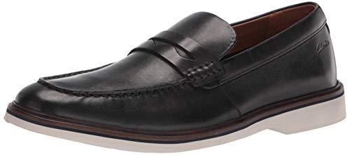 Clarks Herren Malwood Step Slipper, schwarzes Leder, 45 EU