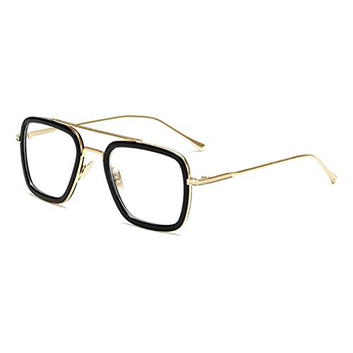 Estilo para mujer Gafas de sol para hombre, diseño cuadrado, diseño de marca, retro, macho de hierro y hombre, oculos de (Lenses Color: C9Gold Blanco)