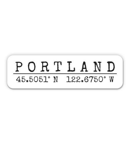 Squiddy Portland Oregon - City Coordinates - Vinyl Sticker - Large Size (11' Wide)