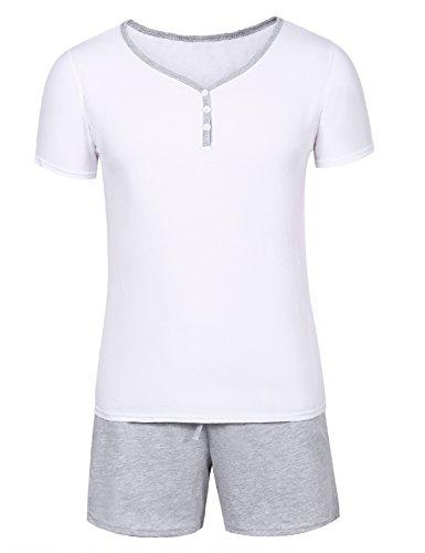Aibrou Schlafanzug Pyjama Kurz Sommer Baumwolle Nachtwäsche Kurzarm Oberteil Kurze Shorty Hausanzug Sleepwear Weiß S