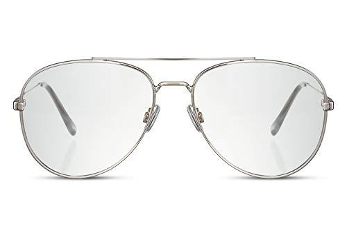 Cheapass Occhiali da sole Grandi Metallici d'Argento Occhiali da Pilota con Lenti Chiare da Donna