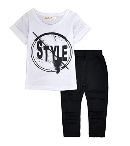 YiyiLai YiyiLai Sommer Kind Mädchen Kurzarm Shirt Mit Druck Kind Suit Playsuit Outfit Bekleidungsets Hosen Schlitz Deko Weiss 90