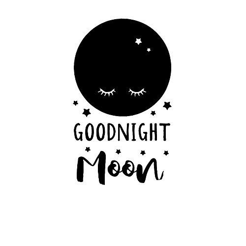 Cute white moon buenas noches vinilo etiqueta de la pared wallsticker para la habitación del bebé calcomanías arte mural dormitorio papel-Largo 43cm X 72cm