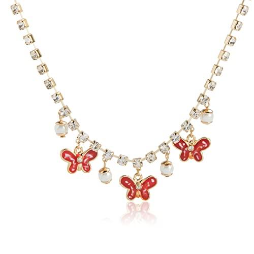 WDBUN Collar Colgante Joyas Verano Collar de Mariposa roja Perla Color del Bosque pequeña Cadena de clavícula Fresca Tendencia Femenina Regalos Originales para Mujer Hombre