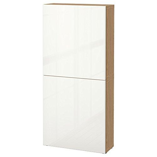 IKEA BESTA–Armario de pared con 2puertas de madera de roble/selsviken brillante/blanco