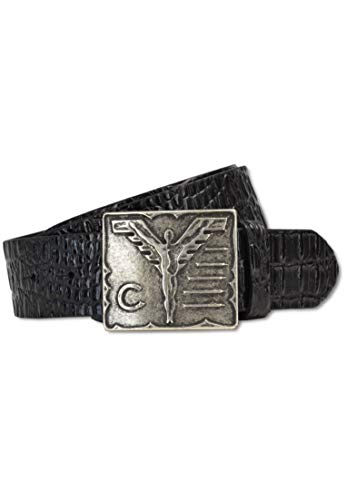 Carlo Colucci - Cinturón de piel con relieve de cocodrilo, color negro