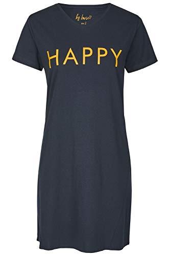By Louise Damen Nachthemd Sleepshirt Schlafshirt Sleepwear Kurzarm Marine orange Spruch, Grösse:L - 40, Farbe:Marine