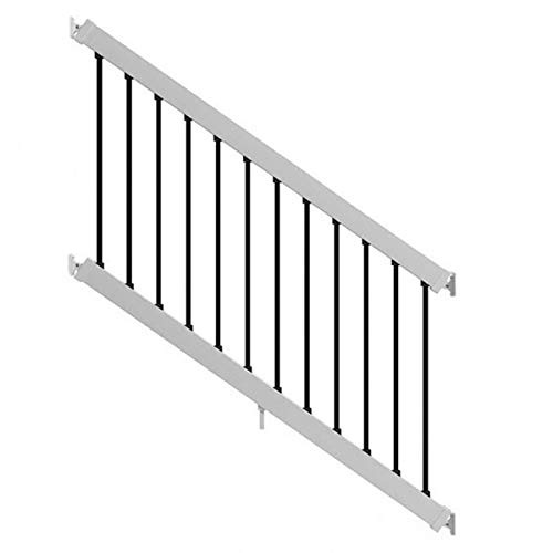 6-ft x 3-ft White Composite Stair Railing Kit with Black Balusters
