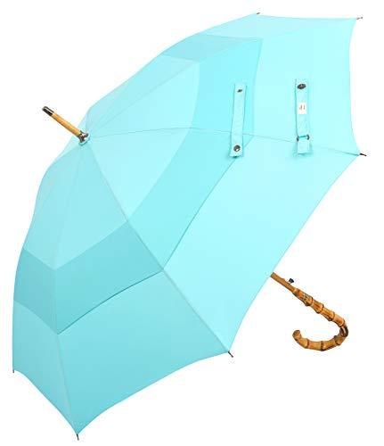 Balios Gehstock, Regenschirm aus Bambus, handgefertigt, doppelter Baldachin, winddicht, Fiberglas, robuster Rahmen, automatisches Öffnen, hochwertiger gebogener Griff Blau aqua blue M