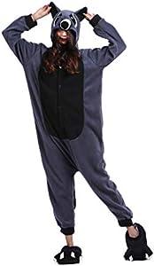 DarkCom Disfraz de Animal Unisex para Adulto Sirve como Pijama o Cosplay Sleepsuit de una Pieza Marrón,S para Altura(141CM-160CM)