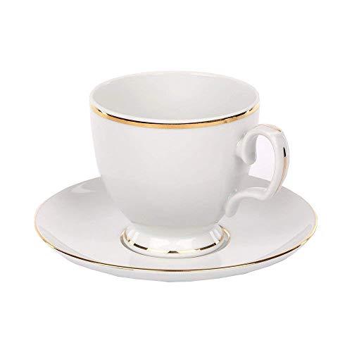 MariaPaula Kaffeeservice Teeservice Porzellan Chodziez Weiß mit Goldstreifen (Tasse mit Untertasse 220 ml)