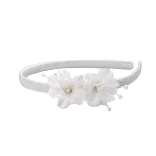 rougecaramel - Accessoires cheveux - Serre tête fleur enfant mariage cérémonie - blanc