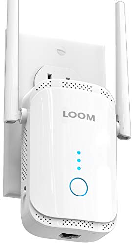 loom WiFi Extender Signal Booster up to 2640sq.ft - newest generation, 2021 release, Wireless Internet Repeater, Long Range Amplifier with Ethernet Port and Access Point, 1-Tap Setup, Alexa Compatible