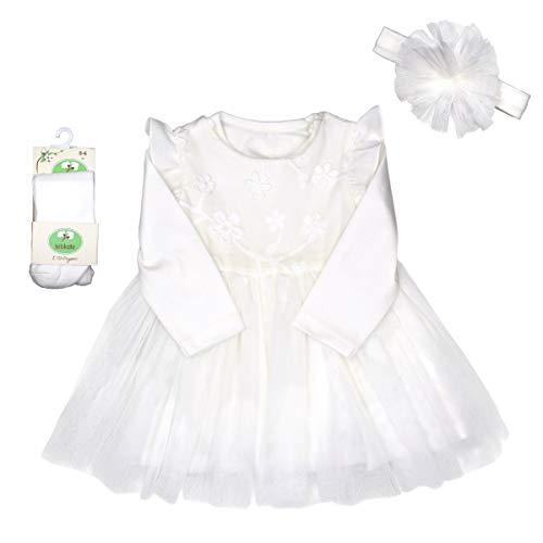KittyKate Mädchen Baby Kleid Body Strumpfhose Haarband Set Taufkleidung Taufkleid weiß Hochzeit Spitzenkleid Festkleid Geschenkset Neugeboren Bio Baumwolle (Kleid Set (K 0034), 62)