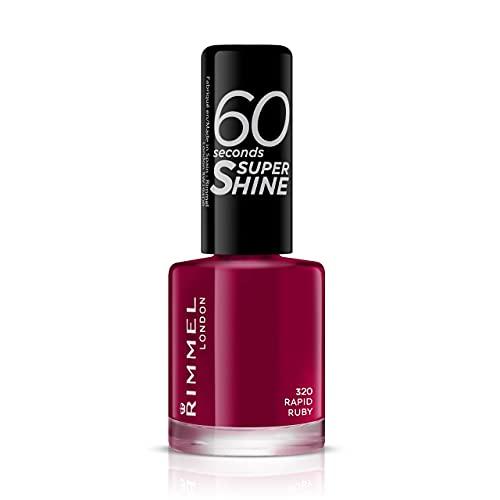 Rimmel London Smalto Unghie 60 Seconds Super Shine - Asciugatura Rapida e Lunga Durata - 320 Rapid Ruby (Rosso Scuro) - 8 ml