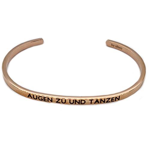 Elegante pulsera de plata o oro rosa con mantra y frase – Grabado en 2 tamaños, ojos a bailar y bailar.,
